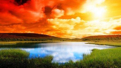 Fototapeta Wschód Słońca Nad Jeziorem 0937