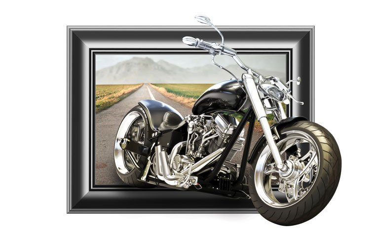 Naklejka Na ścianę Obraz 3d Motocykl 0003 Oklejajpl
