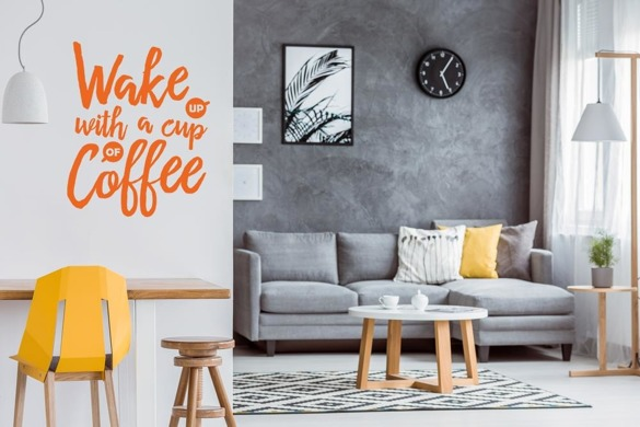 Naklejka na ścianę - Wake up with coffee - 0110